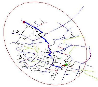 For comparison this shows the routes considered after the search has been scoped.